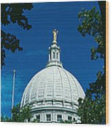 The Dome Of The Wisconsin State Capitol Wood Print