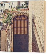The Door With Overview Of Ronda Wood Print