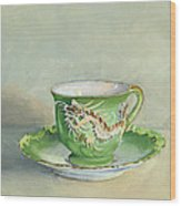 The Dragon Teacup Wood Print
