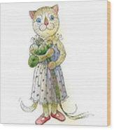 The Dream Cat 01 Wood Print by Kestutis Kasparavicius