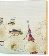 The Dream Cat 13 Wood Print by Kestutis Kasparavicius