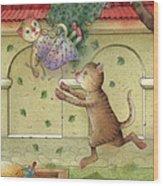 The Dream Cat 16 Wood Print by Kestutis Kasparavicius