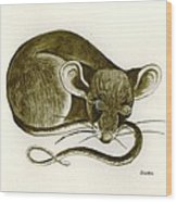 The Dreaming Mouse Wood Print