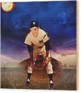 The Duality Of Mickey Mantle American Hero Wood Print by Retro Images Archive