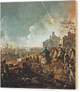 The Duke Of Wellington At La Haye Sainte. The Battle Of Waterloo Wood Print