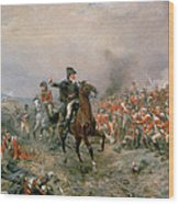 The Duke Of Wellington At Waterloo Wood Print