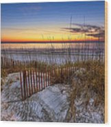 The Dunes At Sunset Wood Print by Debra and Dave Vanderlaan