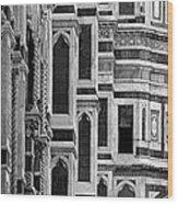 The Duomo Black And White Wood Print