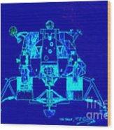 The Eagle Apollo Lunar Module In Blue Wood Print