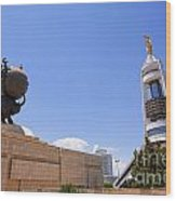 The Earthquake Memorial Statue And The Arch Of Neutrality In Ashgabat Turkmenistan Wood Print
