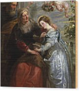 The Education Of The Virgin Wood Print