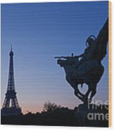 The Eiffel Tower And Joan Of Arc Statue  At Sunrise Wood Print