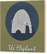 The Elephant Cute Portrait Wood Print