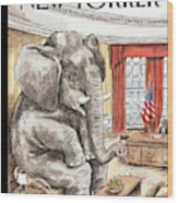 The Elephant In The Room Wood Print