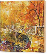 The Embassay Of Autumn - Palette Knife Oil Painting On Canvas By Leonid Afremov Wood Print