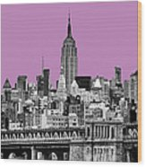 The Empire State Building Pantone African Violet Wood Print