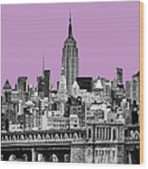 The Empire State Building Pantone African Violet Light Wood Print