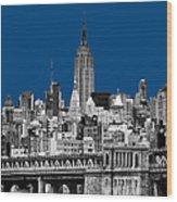 The Empire State Building Pantone Blue Wood Print by John Farnan