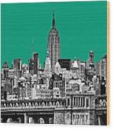 The Empire State Building Pantone Emerald Wood Print