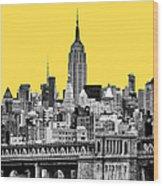 The Empire State Building Pantone Yellow Wood Print by John Farnan