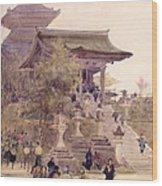The Entrance To The Temple Of Kiyomizu Dera Kyoto Wood Print