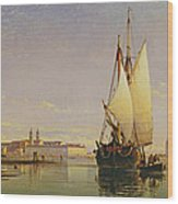 The Euganean Hills And The Laguna Of Venice - Trabaccola Waiting For The Tide Sunset Wood Print by Edward William Cooke