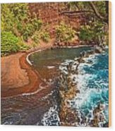 The Exotic And Stunning Red Sand Beach On Maui Wood Print