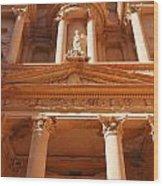 The Facade Of Al Khazneh In Petra Jordan Wood Print by Robert Preston