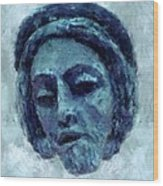 The Face Of Blue Wood Print