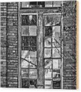 The Factory Window Bw Wood Print