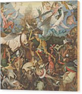 The Fall Of The Rebel Angels, 1562 Oil On Panel Wood Print