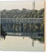 The Falls Bridge Over The Schuylkill River Wood Print