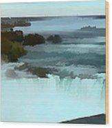 The Falls-oil Effect Image Wood Print