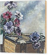 The Family Bible Graced By Anemones Wood Print