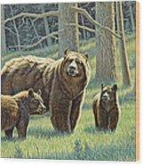 The Family - Black Bears Wood Print