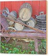 The Farmer's Old Wheelbarrow Wood Print