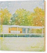 The Farnsworth House Wood Print