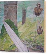 The Feather And The Word La Pluma Y La Palabra Wood Print