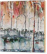 The Ferry Arrives At Galata Port - Istanbul Wood Print