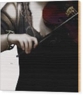 The Fiddle Player In Violin Concerto A Minor Grunge Wood Print