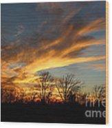 The Fiery Sky Wood Print
