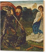 The Fight. St George Kills The Dragon Vi Wood Print