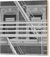 The Fire Escape In Black And White Wood Print