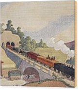 The First Paris To Rouen Railway, Copy Wood Print by French School