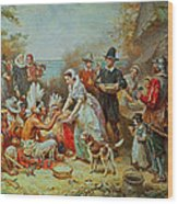 The First Thanksgiving Wood Print by Jean Leon Gerome Ferris