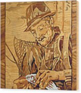 The Fisherman With The Fish Wood Print