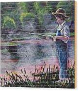The Fishing Boy Wood Print