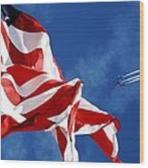 The Flag And The Blue Angels Wood Print