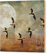 The Flight Of The Snow Geese Wood Print