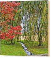 The Flow Of Autumn Wood Print